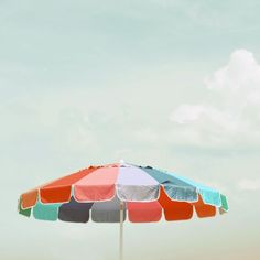 Beach Umbrella Photograph - 8x8 summer decor print - modern art print cool blue red beach house art