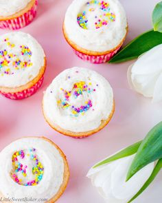 Say goodbye to dry and boring vanilla cupcakes, and HELLO to these supremely moist and flavorful vanilla cupcakes of your dreams!