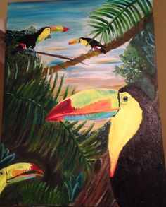 Toucans oil beach jungle