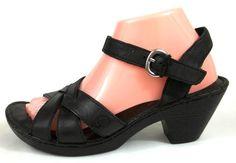 Born Shoes Womens 9 Black Leather Ankle Strap Sandals Heels #Brn #AnkleStrap