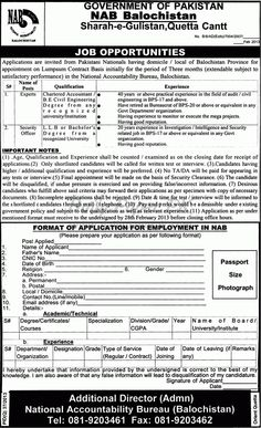 Job Opportunities In National Accountability Bureau NAB Balochistan, Quetta  For jobs details and how to apply:   http://www.dailypaperpk.com/jobs/181839/job-opportunities-national-accountability-bureau-nab-balochistan-quetta