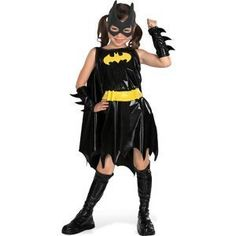 Batgirl Child Costume Medium (8-10). Includes: Dress, Mask, Arm gauntlets, Boot covers, Belt. This is an officially licensed Batman  costume.