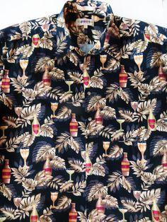 Vintage Hawaiian Shirt, Beer Theme, Black Tropical Print, Cotton Hawaiian Shirt, Aloha Shirt, Size XL Retro Party Shirt, Hawaiian Casuals by TomCatBazaar on Etsy