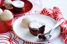 Chocolate cardamom pudding with chai ice-cream