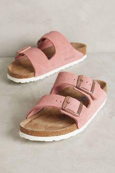 Shop the Birkenstock Suede Arizona Sandals || Anthropologie || Pink