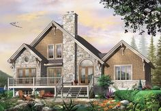 Coastal Country Craftsman European Traditional House Plan 64810 Elevation