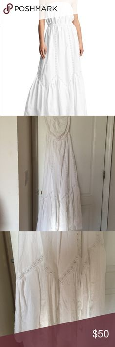 White cotton eyelet maxi dress gap Worn a few times. White cotton eyelet maxi dress gap. No rips or tears or stains that I can tell GAP Dresses Maxi