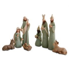 Eight Piece Christmas Nativity Set In Pale Green & Gold Finish