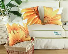 Set of 3 CaliTime Throw Pillow Covers 18 X 18 Inches Sunflower Print Combo Set -- You can find out more details at the link of the image.