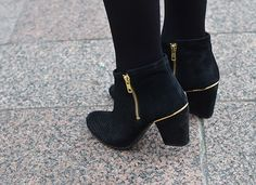 Black, suede, heeled boots