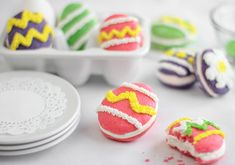 Egg shaped whoopie pies with marshmallowy filling and sprinkles on top would make any Easter basket better.