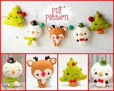 Patrón PDF. Guirnalda de Chistmas Rudoph, muñecos de nieve y árbol de Navidad.