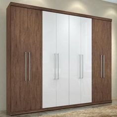 # mix and match with wood Wardrobe Door Designs, 4 Door Wardrobe, Wooden Wardrobe, Wardrobe Design Bedroom, Sliding Wardrobe Doors, Bedroom Bed Design, Closet Designs, Modern Bedroom, Bedroom Ideas