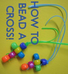 How to bead a cross - easy Christian craft from Catholic Icing pony beads, easter crafts, bead cross, sunday school crafts, vbs crafts, christian crafts, craft ideas, cross crafts, kid