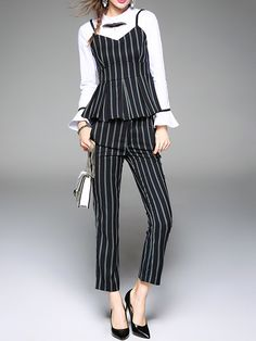 Shop Jumpsuits - Frill Sleeve Two Piece Stripes Simple Jumpsuit online. Discover unique designers fashion at StyleWe.com.