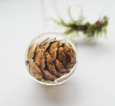 Pine Cone Necklace Autumn Winter Jewelry Woodland Tree Woods Brown Sterling Globe Crystal #EtsyNecklace