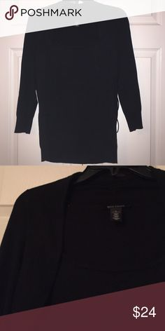 """WHITE HOUSE BLACK MARKET top Long sleeve WHBM black top with little bolero accent.  All one piece.  69% rayon, 31% nylon.  Size large, 26"""" long, 18.5 across.  Excellent used condition. White House Black Market Sweaters Crew & Scoop Necks"""