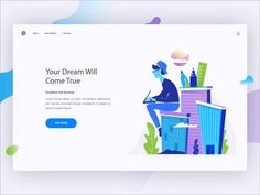 Private Entrepreneur Course - Landing page Concept remote freelance work building city landing page gif animation ui course illustration Design Web, Design Sites, Web Design Trends, Logo Design, Flat Design, Web Layout, Layout Design, Webdesign Layouts, Typography Drawing