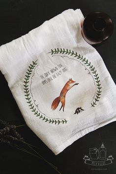 Quick Brown Fox  Tea Towel by MilkandGlue on Etsy, $12.00