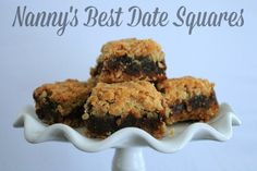 Nanny's Best Date Squares - Life In Pleasantville - - Eating my mother's best date squares always reminds me of her and all the love she poured into her cooking. Do you have a recipe you remember fondly? Allergy Free Recipes, Baking Recipes, Cookie Recipes, Dessert Recipes, Amish Recipes, Fruit Recipes, Baking Ideas, The Oatmeal, Anna Olson