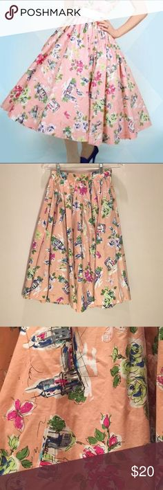 """Retro 1950s Circle Skirt The perfect 1950s style circle skirt with """"Riviera"""" print. From Vivcore brand """"Cute Salad."""" Length: 27"""", waist: about 24.5"""". No flaws that I can find. Cute Salad Skirts"""