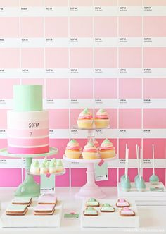 """pantone party by sweet style via tomkat studio: a really great way to give a normal """"pink"""" theme a boost. honestly, i want a pantone party for myself now. Desserts Roses, Rosa Desserts, Baking Desserts, Health Desserts, Party Kulissen, Party Time, Party Ideas, Sofia Party, Party Summer"""