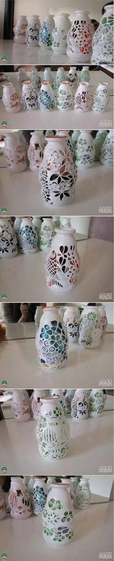 DIY Milk Bottle Artistic Vase - love these but the link has no instructions. Plastic Bottle Crafts, Recycle Plastic Bottles, Wine Bottle Crafts, Bottle Art, Yarn Bottles, Diy Candle Holders, Recycled Bottles, Recycled Crafts, Handicraft