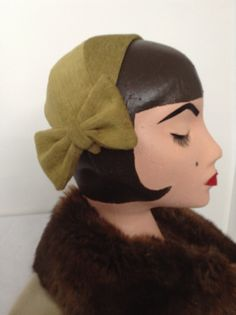 1940's Replica Chenille Half Hat with Bow by DistressedDamsels