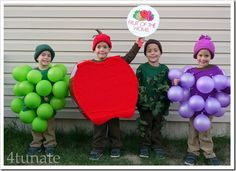 33 Incredible Homemade Halloween Costumes for Kids If there's ever a time to DIY, Halloween is it. Here are 19 inspiring costume ideas to get you started. Funny Group Halloween Costumes, Homemade Halloween Costumes, Halloween Costume Contest, Cute Costumes, Halloween Diy, Costume Ideas, Awesome Costumes, Diy Fruit Costume, Fruit Costumes