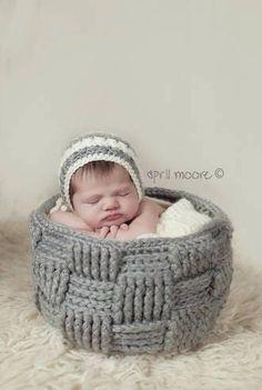 Crochet Basket Photo Prop #photoprop #newbornphotography #crochet #basket #prop