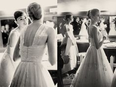 Audrey Hepburn and Grace Kelly photographed backstage by Alan Grant during the 28th Annual Academy Awards at the RKO Pantages Theatre, 1956.