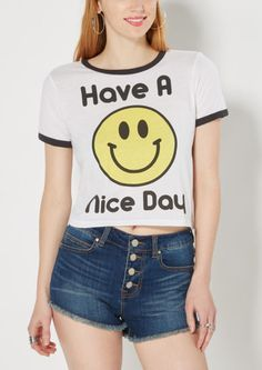 image of Have a Nice Day Ringer Crop Top