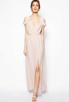 Brides.com: Affordable (and Stylish!) Bridesmaid Dresses Under $100 . Wrap front maxi dress, $84.69, ASOS  See more pink bridesmaid dresses.