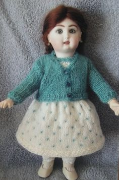 hand knit dress & cardigan for Bleuette