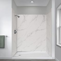 Foremost Jetcoat 32 in. x 60 in. x 78 in. Shower Kit in Carrara White with Left Drain Base in - The Home Depot Shower Inserts, Shower Panels, Marble Showers, Marble Tile Shower, Modern Marble Bathroom, Granite Shower, Carrara Marble Bathroom, Marble Look Tile, Tile Showers