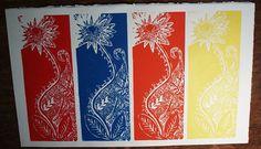 Lino Print Color FLOWER
