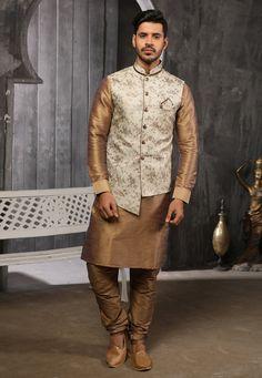 Golden Jacquard Readymade Kurta Pajama With Jacket 186550 Nehru Jacket For Men, Nehru Jackets, Wedding Dresses Men Indian, Men Dress Up, Mens Sherwani, Chinese Collar, Indian Ethnic Wear, Collar Styles, How To Dye Fabric