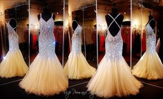 This sexy mermaid prom dress is a MUST HAVE! The beads, stones and jewels give a slimming effect to your silhouette. The beaded straps crisscross your open back. Illusion defines your mid rift and shapes your swirled hem. ONLY at Rsvp Prom and Pageant, Atlanta, GA or BUY it HERE at http://rsvppromandpageant.net/collections/long-gowns/products/nude-mermaid-prom-dress-sweetheart-neckline-open-back-115bp097020
