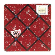 The little cowboy in your life will love spending playtime in his room, surrounded by Sweet Jojo Design's Wild West themed collection. With this bandana print fabric memo board, there's no need for tacks. Simply slide photos in place, and enjoy. Red Bandana, Bandana Print, Cowboy Bandana, Fabric Memo Boards, Cowboy Room, Cowgirl Nursery, Wild West Cowboys, Western Theme, Cowboy Western