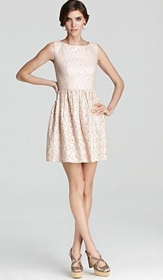 Pink lace bridesmaid dress cute, but should be longer