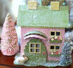 GLITTER HOUSES - go to Sally Swift, she has tons of great glitter house ideas! - - Victorian Whimsies-Spring Glitter House