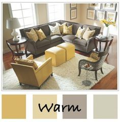 Warm Blue Living Room Color Scheme For more indea Warm Blue Living Room Color Scheme, please cli Living Room Color Schemes, Living Room Colors, Living Room Paint, Living Room Grey, Rugs In Living Room, Living Room Designs, Grey And Yellow Living Room, Grey Yellow, Yellow Walls