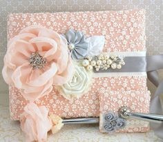 Wedding Guest Book and Pen Set Signature Book in Ivory, Peach and Light Grey with Pearls and Lace.