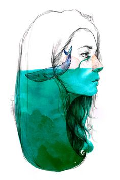 by Paula Bonet. My head is usually knee-deep in thoughts of the ocean. by Paula Bonet. My head is usually knee-deep in thoughts of the ocean. Inspiration Art, Art Inspo, Paula Bonet, Watercolor Girl, Watercolor Whale, Watercolor Illustration, Watercolor Paintings, Ocean Illustration, Portrait Illustration