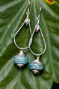 Handmade glass sand bead sterling silver earrings by CGlassStudio, $110.00