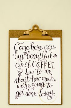 Using a Free Printable to Make Coffee Station Art Coffee Station Art - Dollar store clipboard with a gold spray-painted clip and a free coffee quote printable. Coffee Nook, Coffee Corner, Coffee Art, My Coffee, Coffee Time, Coffee Creamer, Coffe Decor, Coffee House Decor, Bunn Coffee