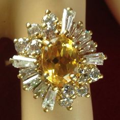 Vintage .925 Sterling Silver Gold Tone 3 ct Citrine 2 ct White Sapphire Starburst Ring BB631 We combine shipping No Question Refunds Bid $60 for free shipping. Starting at $1