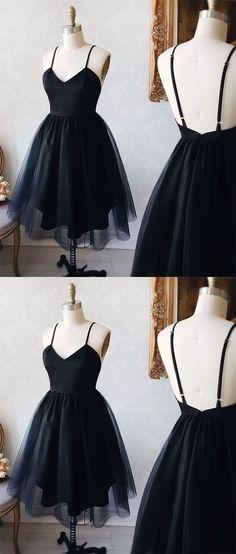 black sleeveless tulle homecoming dress,v-neck spaghetti-straps backless short school event dress Dresses For Teens, Cheap Dresses, Sexy Dresses, Evening Dresses, Casual Dresses, Prom Dresses, Elegant Dresses, Simple Dresses, Summer Dresses