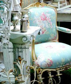 Aqua, pink roses chair#thevintagemarketplaceattheoaks