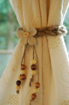 Jute, burlap flower & beads rustic curtain tie backs One or a set of two ~ jute rope crochet ~ small or medium available Made to order